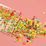 QLJ 1000 unids/Set Pegatinas 3D para decoración de uñas Fruta Estrella Lazo Flor cerámica Suave DIY Rebanada pequeña decoración decoración calcomanías para uñas - Colorido