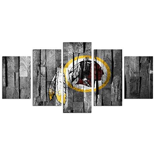 6Lv5Panel Mural con el Logo del Equipo de la NFL Washington lienzos Decorativos Impresión de 5 Piezas Material Tejido no Tejido Impresión Artística-150 * 80CM