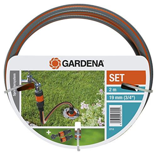 Gardena Profi System Anschlussgarnitur: Komplett-Set zum Anschluss von Pipeline und Sprinklersystem an die Wasserversorgung, mit Hahnstück, Schlauchstücken und Flexi-Schlauch (2713-20)