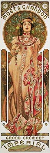1art1 Alphonse Mucha - Moët Et Chandon, Grand Cremant Imperial Plakat-Kunst, 1899 Selbstklebende Fototapete Poster-Tapete 240 x 75 cm