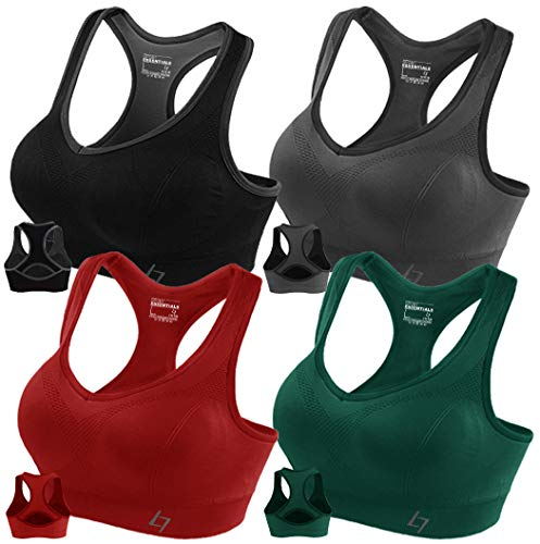 FITTIN Racerback Sports Bras for Women- Padded Seamless High Impact Support for Yoga Gym Workout Fitness 4 Pack XL