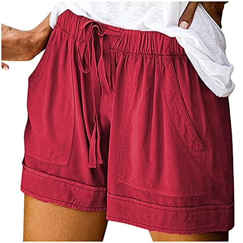 ZDJH Pantalones cortos de verano para mujer, elásticos, de lino, para la playa, con bolsillos, pantalones cortos de deporte, informales, para dormir, tiempo libre, Vino, XXXL