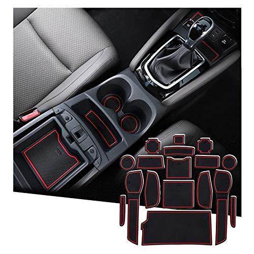 SHAOHAO für Nissan Qashqai J11 2018+ Gummimatten, Mittelkonsole Antirutschmatten, Getränkehaltermatt, Türschlitzmatte Aufbewahrungsbox Rutschfestermatte(Rot)