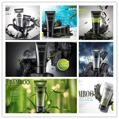 High-end bamboo charcoal mask cleanser men skincare cosmetics poster advertising material EPS vector design templates 0037