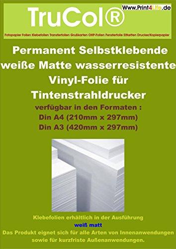 DIN A4 Inkjet Vinylfolie Aufkleberfolie Stickerfolie für Tintenstrahldrucker weiß matt selbstklebend, DIN A4 x 20 Blatt