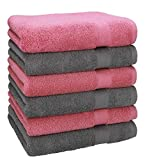 Betz 6 Toallas Premium 100% algodón tamaño 50x100cm Rosa y Antracita