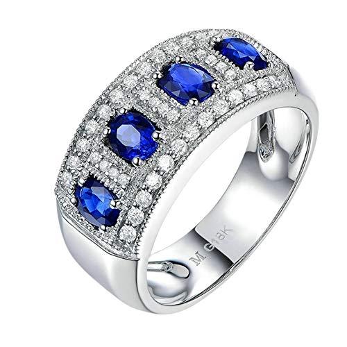 Ubestlove Womens Ring White Gold 80Th Birthday Gifts For Grandma Inlaid 1.15Ct Ruby 0.38Ct Diamonds Ring 1.53Ct P 1/2