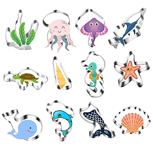 Tagliabiscotti Set 12 Forme di creature marine Tagliabiscotti oceanici Tagliapasta in acciaio inossidabile Stampi di vita marina per glassa di torta di cottura del fondente