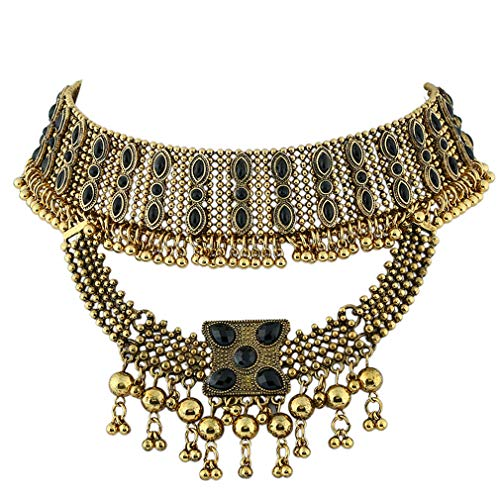 YAZILIND Tribal and Ethnic Inspired Chunky Aztec Sun Golden Beads Statement Necklace Chunky Bib Necklace Gold