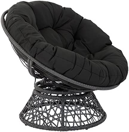 Best OSP Designs Papasan Chair with 360-degree Swivel, Black Cushion Frame