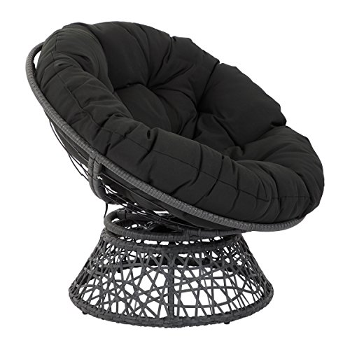 OSP Designs Papasan Chair with 360-degree Swivel, Black Cushion Frame
