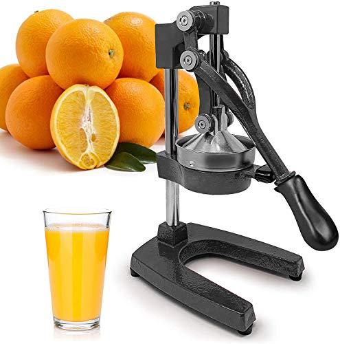 Large Citrus Juicer - Commercial Grade Press Orange, Grapefruit and Lemon Press Juicing - Extracts Maximum Juice - Heavy Duty Cast Iron Base and Handle,Black