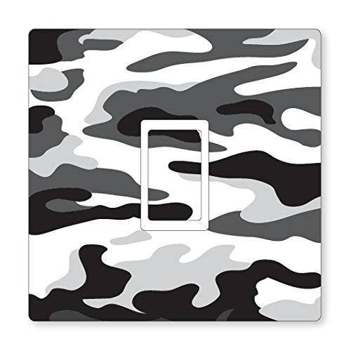 Landing Designs WHITE CAMOUFLAGE UK LIGHT SWITCH STICKERS, CHILDS BEDROOM NURSERY DECORATING (Single Switch)