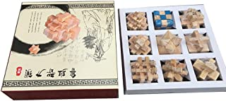 9 Pcs Wooden Brain Teasers Puzzles Wooden Puzzle Game Burr Puzzles Kong Ming Luban Lock Educational Toy for Kids Adults