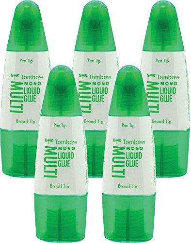 Tombow PT-MTC Flüssigkleber, Multi Talent mit zwei Spitzen, 25 g (5er Pack, Multi Talent)