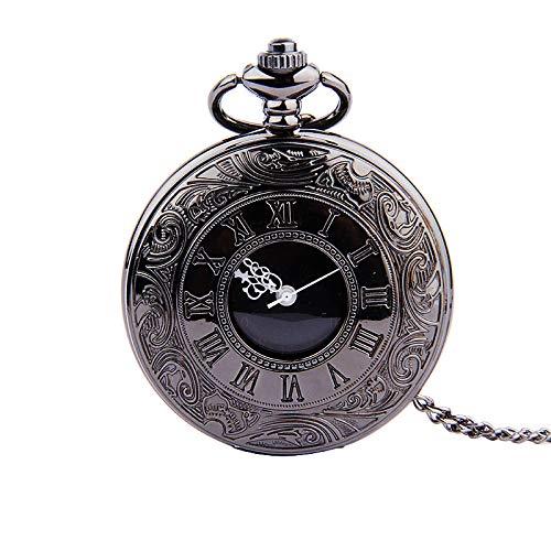 YHWW Taschenuhr Taschenuhr Vintage römischen Ziffern Quarzuhr Uhr mit Kette Antikschmuck Anhänger Halskette Geschenke schwarz