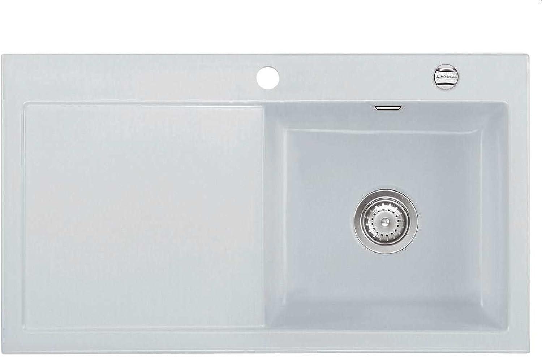 Systemceram Mera 90 Alu Keramik-Spüle Spülbecken Einbauspüle Auflagespüle Grau