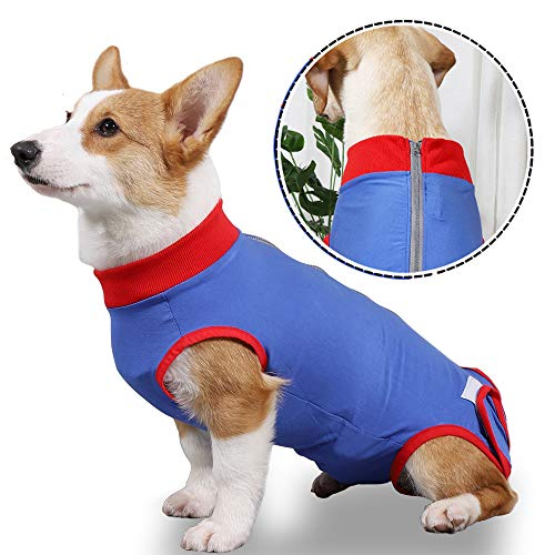 Dog Recovery Suit After Surgery, Abdominal Wounds Bandages Cone E-Collar Alternative Soft Fabric Onesie Recovery Shirt Anti-Licking Pet Surgical for Male Female Dogs