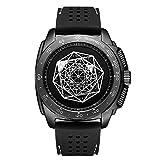 Relojes Reloj De Cuarzo Deportivo De Moda De Silicona para Hombres Huecos Relojes de Pulsera Personalizado @ Black
