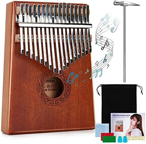 Kalimba 17 Keys Thumb Piano, KUDOUT Portable Mbira Finger Piano with Study Instruction and Tune Hammer, Kalimba Music Instrument Gift for Kids Adult Beginners
