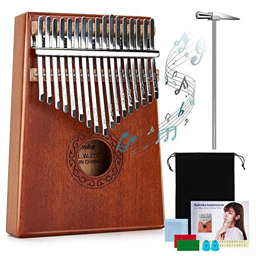 Kalimba 17 Teclas,Piano de pulgar con bolsa protectora,Martillo de afinación e Instrucción,Instrumento musical portátil para para niños y adultos principiantes