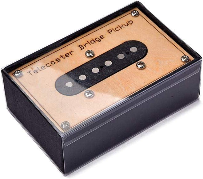 JIUYECAO Pastilla de cartón de acero negro única, recogida de bobina de Alnico 5 para guitarra, recogida de bobina, color amarillo, cuello/medio/puente para elegir con caja S-Torage