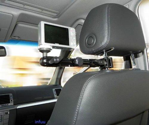 Infuu Holders KFZ Kamera Camcorder Kopfstützenhalterung 360° flexibel Halter Befestigung Fotostativ stabil Metall Aluminium 040 Gear 360 LG