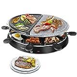 Raclette, Naturale Stone e Grill Party Combinazione di Raclette/Barbecue Antiaderente 8 Padelle per 8 Persone 1300W Nero