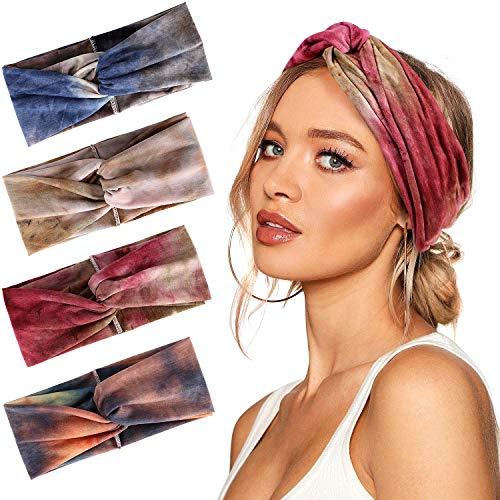 Bascolor Diademas Mujer Elástica Turbantes Flor impresión Diademas Deporte Nudo Banda para Cabello Yoga cabeza Wraps (4pcs tie dye diademas)