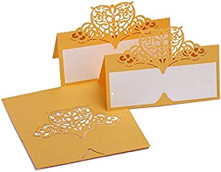 60pcs Laser Cut Wedding Table Name Place Cards Personalised Reception Decoration with Gold Lace Pattern Cardstock for Wedding Favors,Party