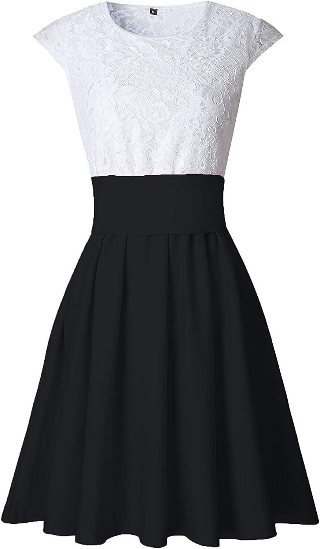 Sommerkleid Damen /Ärmellos Rundhals Spitze Kleid Slim A Linie Minikleid Partykleid Elegant Festlich Abendkleider Cocktailkleid