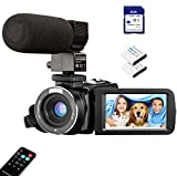 Video Camera Camcorder with Microphone Webcam, Aasonida Digital YouTube Camera with IR Night Vision 3'' IPS Touch Screen Vlogging Camera with 32GB SD Card, Remote Control, 16X Digital Zoom