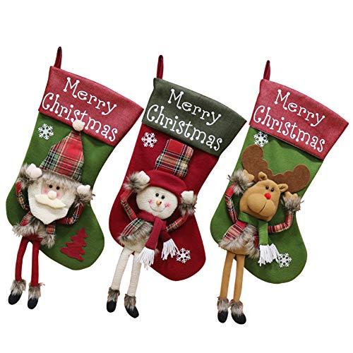 BONANA 3PCS Classic Christmas Calze A Maglia Grande Regalo di Natale Sacco Regalo Borsa Decorazione Camino Decorazione Dell'albero di Natale