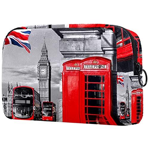 Bolsa de Maquillaje compacta Bolsas de cosméticos de Viaje portátiles para Mujeres niñas Neceser,Big Ben Double Decker Bus Cabina de teléfono roja en London Street.