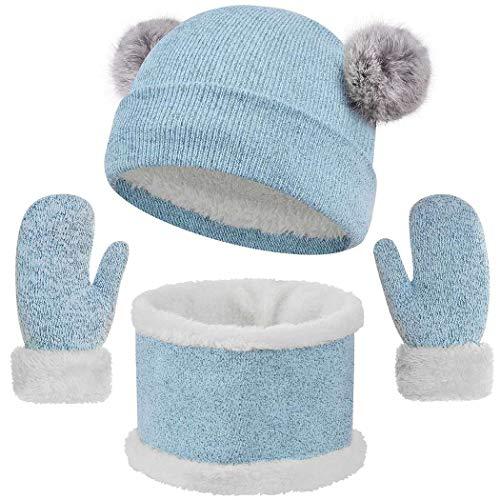 heekpek Set de Bufanda Gorro y Guantes para Niña Niños 3 Piezas Sombreros de Caliente Punto Bufanda Guantes con Forro de Lana Invierno Calentar Gorro Bufanda Sombrero Bufandas Set (A-azul)