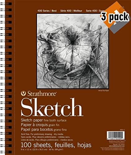 Strathmore 400 Series Sketch Pad, 9'x12' Wire Bound, 100 Sheets - 3...
