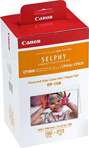 yca - confezione 108 stampe in formato cartolina + cartuccia colori - per Canon selphy CP910 - CP820