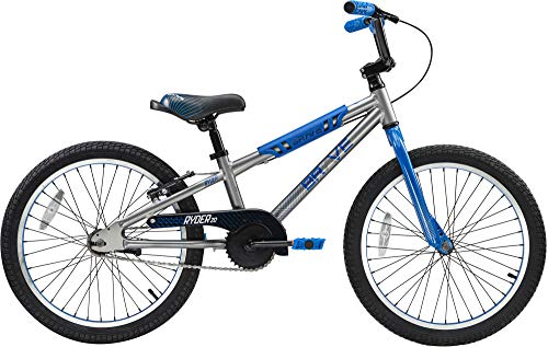 "Brave Sterling Blue Freestyle BMX Kids 20"" Bicycle, Lightweight Aluminum Frame and Fork, Easy to Ride! Premium Parts, Premium Safety, Without The Premium Price!"
