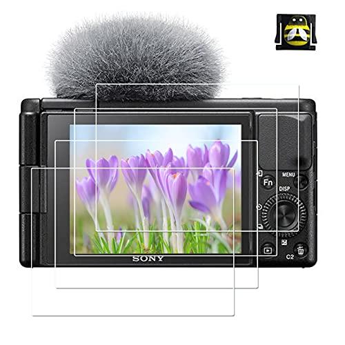 ZV1 - Protector de pantalla de cristal templado, apto para cámara Sony ZV1 ZV [4 + 1 unidad], 0,3 mm de dureza 9H, a prueba de arañazos y huellas dactilares a prueba de burbujas