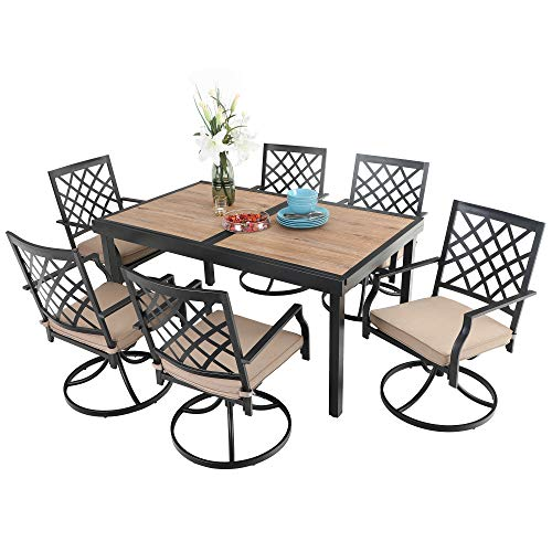 PHI VILLA Patio Dining Set 7 Pcs 1 Extendable Dining Table and 6 Swivel Chairs Support 300 lbs for Outdoor Garden Lawn Pool Easy to Care Weather Resistant Furniture Set with Cushion