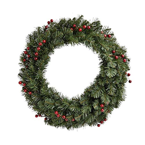 ZNZN Christmas Wreath Plastic Christmas Rattan Garland Decoration Supplies Garland Door Hanging Ornaments for Walls, Shopping Malls, Green Christmas Wreath Decorations (Size : 60cm/23.6IN-B)