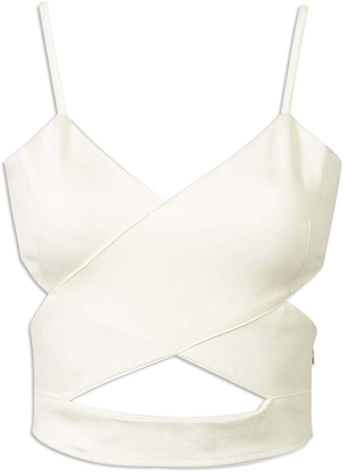 Choies Women's Cut Out Cross Spaghetti Strap Cropped Candy color Vest