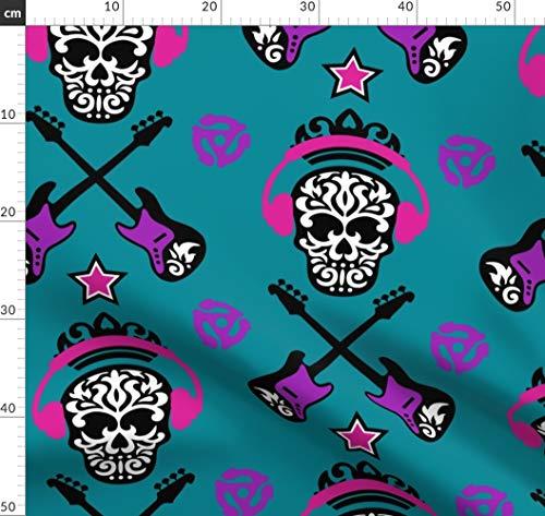 Rockstar, Totenkopf, Band, Musik Stoffe - Individuell Bedruckt von Spoonflower - Design von Mariafaithgarcia Gedruckt auf Bio Baumwoll Interlock-Jersey