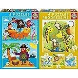 Educa Piratas 2 Puzzles De 20 Piezas, Multicolor (17149) + Animales Salvajes Conjunto De Puzzles Progresivos, Multicolor (17147)