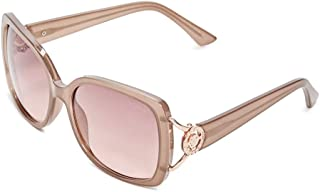 GUESS Womens GF6065 Shiny Milky Beige With Rose Gold/Brown To Pink Gradient Lens One Size