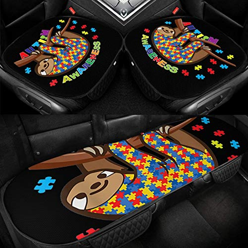 XUKE Loth Lover Awareness Autistic Car Ice Seat Cushion 3 Pieces Ice Silk Car Seat Cover Cushion Breathable and Comfortable Non-Slip