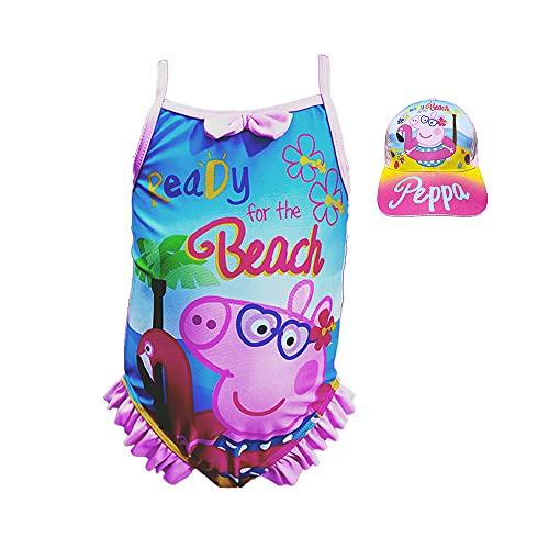 New Costume da bagno Peppa Pig Bambina + Cappello con Visiera Ideale Mare Piscina Modello Nuova...