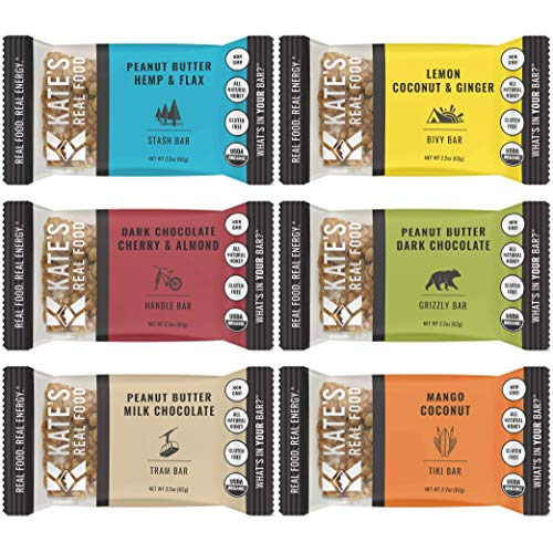 Kate's Real Food Organic Energy Bars, Non-GMO, All-Natural Ingredients, Gluten-Free and Soy-Free Healthy Snack with Natural Flavors (Pack of 6)