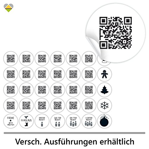 cute-head 24 Adventskalender-Zahlen + 11 Motive (Aufkleber Etiketten Sticker) | Originell als QR Code | Rund | S » Ø 24 mm | Schlicht | FA0001-02