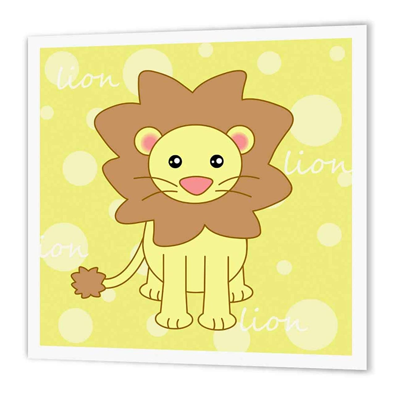 3dRose ht_6101_3 Yellow Baby Lion-Iron on Heat Transfer Paper for White Material, 10 by 10-Inch